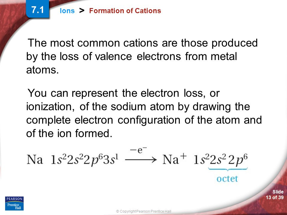 Slide 13 of 39 © Copyright Pearson Prentice Hall Ions > Formation of Cations The most common cations are those produced by the loss of valence electro
