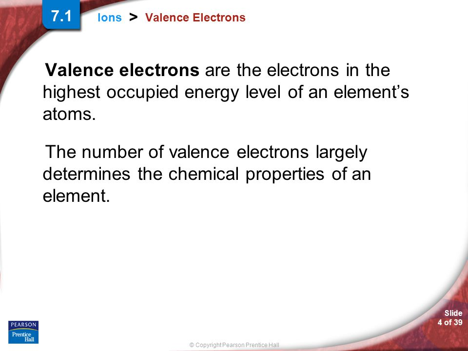 Slide 4 of 39 © Copyright Pearson Prentice Hall Ions > Valence Electrons Valence electrons are the electrons in the highest occupied energy level of a