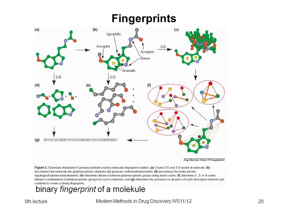 5th lecture Modern Methods in Drug Discovery WS11/12 20 Fingerprints Wie kodiert man die Eigenschaften eines Moleküls zur Speicherung/Verarbeitung in einer Datenbank .