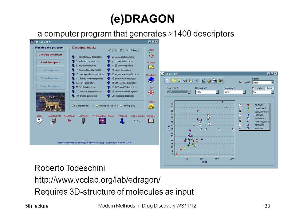 5th lecture Modern Methods in Drug Discovery WS11/12 33 (e)DRAGON Zagreb a computer program that generates >1400 descriptors BalabanJ WienerJ (Pfad Nummer) WienerPolarität Roberto Todeschini http://www.vcclab.org/lab/edragon/ Requires 3D-structure of molecules as input