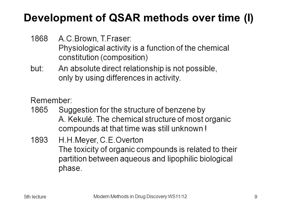 5th lecture Modern Methods in Drug Discovery WS11/12 10 Development of QSAR method over time (II) 1868E.Fischer Key and lock principle for enzymes.
