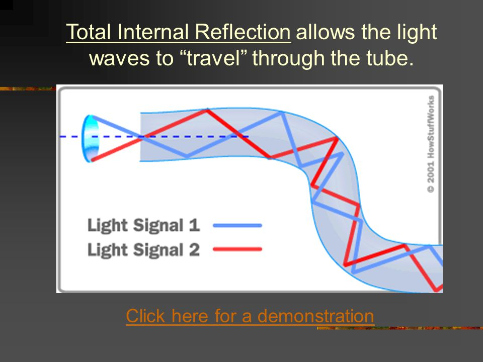 Total Internal Reflection allows the light waves to travel through the tube.