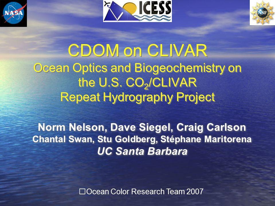 OCRT 2007 Trichodesmium & CDOM Debbie Steinberg, Norm Nelson & Craig Carlson (2004) Trichodesmium (cyanobacteria )