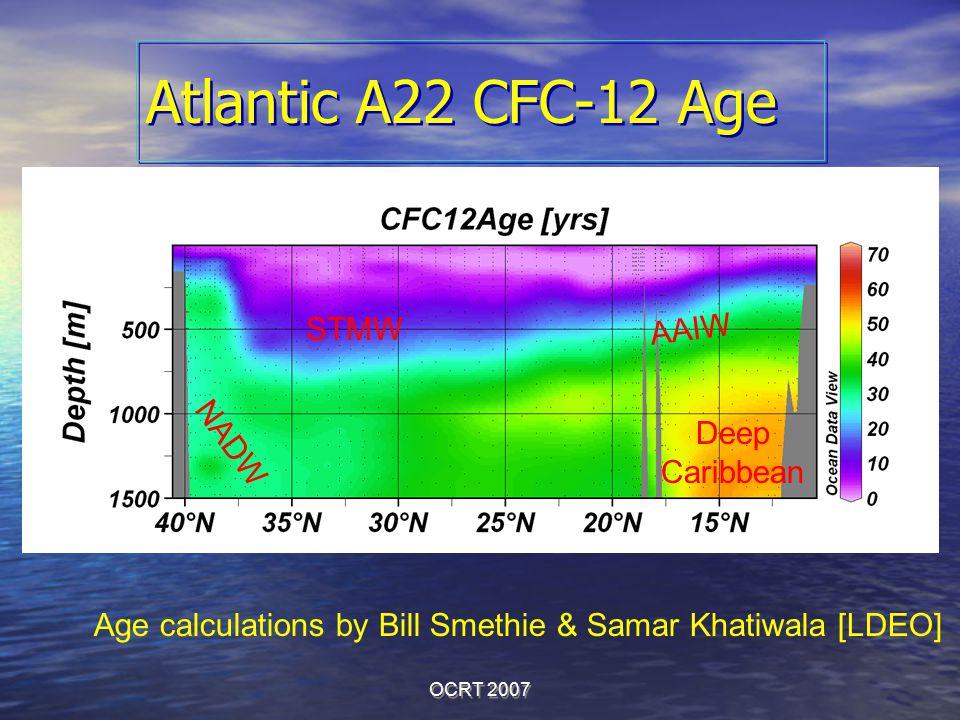 OCRT 2007 Atlantic A22 CFC-12 Age Age calculations by Bill Smethie & Samar Khatiwala [LDEO] STMW Deep Caribbean AAIW NADW
