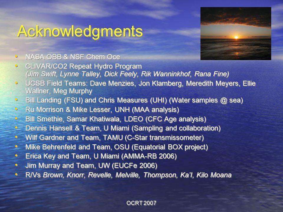 OCRT 2007 Acknowledgments NASA OBB & NSF Chem Oce CLIVAR/CO2 Repeat Hydro Program (Jim Swift, Lynne Talley, Dick Feely, Rik Wanninkhof, Rana Fine) UCSB Field Teams: Dave Menzies, Jon Klamberg, Meredith Meyers, Ellie Wallner, Meg Murphy Bill Landing (FSU) and Chris Measures (UHI) (Water samples @ sea) Ru Morrison & Mike Lesser, UNH (MAA analysis) Bill Smethie, Samar Khatiwala, LDEO (CFC Age analysis) Dennis Hansell & Team, U Miami (Sampling and collaboration) Wilf Gardner and Team, TAMU (C-Star transmissometer) Mike Behrenfeld and Team, OSU (Equatorial BOX project) Erica Key and Team, U Miami (AMMA-RB 2006) Jim Murray and Team, UW (EUCFe 2006) R/Vs Brown, Knorr, Revelle, Melville, Thompson, Ka'I, Kilo Moana NASA OBB & NSF Chem Oce CLIVAR/CO2 Repeat Hydro Program (Jim Swift, Lynne Talley, Dick Feely, Rik Wanninkhof, Rana Fine) UCSB Field Teams: Dave Menzies, Jon Klamberg, Meredith Meyers, Ellie Wallner, Meg Murphy Bill Landing (FSU) and Chris Measures (UHI) (Water samples @ sea) Ru Morrison & Mike Lesser, UNH (MAA analysis) Bill Smethie, Samar Khatiwala, LDEO (CFC Age analysis) Dennis Hansell & Team, U Miami (Sampling and collaboration) Wilf Gardner and Team, TAMU (C-Star transmissometer) Mike Behrenfeld and Team, OSU (Equatorial BOX project) Erica Key and Team, U Miami (AMMA-RB 2006) Jim Murray and Team, UW (EUCFe 2006) R/Vs Brown, Knorr, Revelle, Melville, Thompson, Ka'I, Kilo Moana