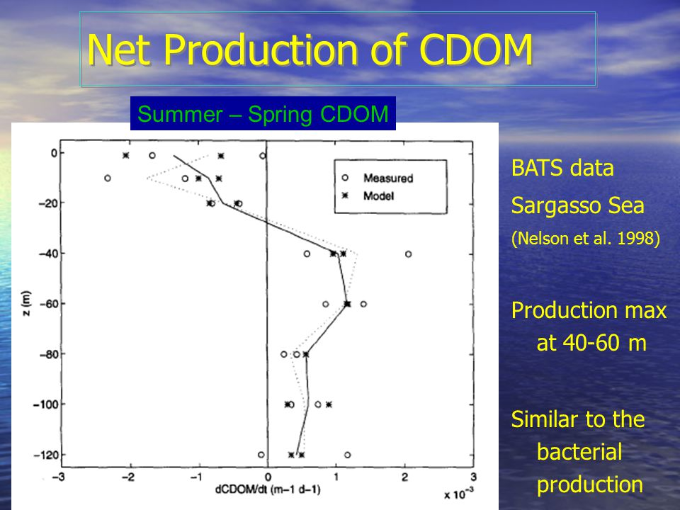 Net Production of CDOM Summer – Spring CDOM BATS data Sargasso Sea (Nelson et al. 1998) Production max at 40-60 m Similar to the bacterial production