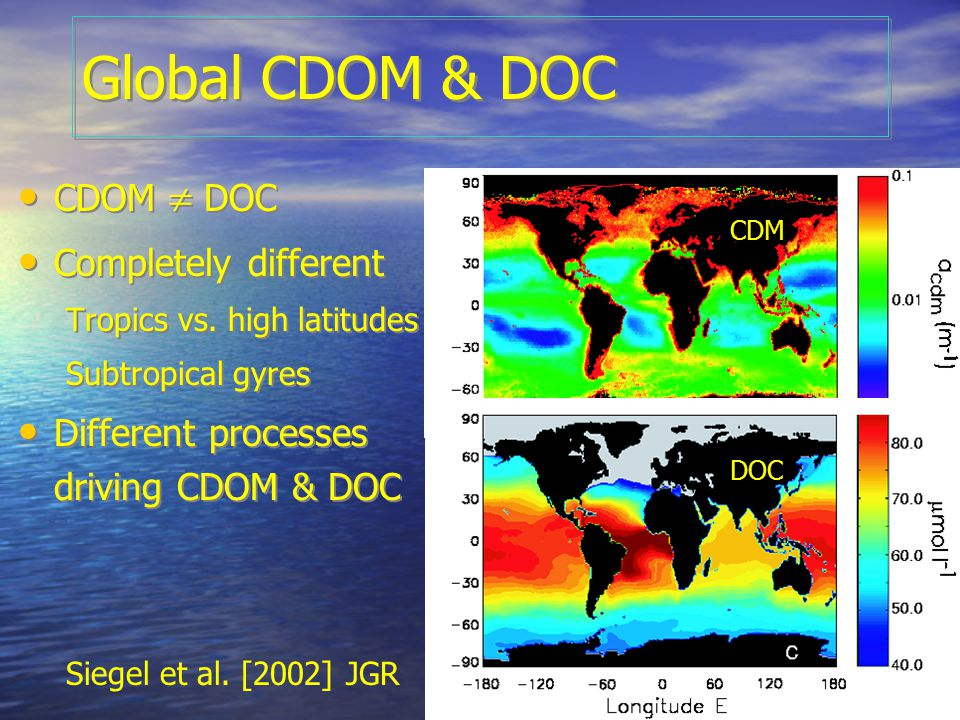 OCRT 2007 Ongoing and future work Completion of global survey (see map) (in collaboration with GSFC cal/val group) Photobleaching of CDOM at open ocean concentrations (Chantal Swan) Relationships between DOM quality/composition (e.g.