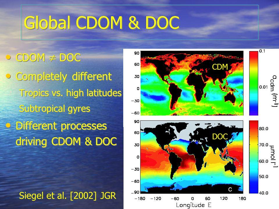OCRT 2007 Global CDOM & DOC CDOM  DOC Completely different Tropics vs.