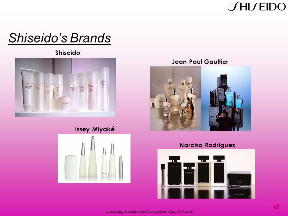 Issey Miyaké Jean Paul Gaultier Narciso Rodriguez Shiseido Internship Presentation-Alexis Bedel- April, 9 Monday Shiseido's Brands