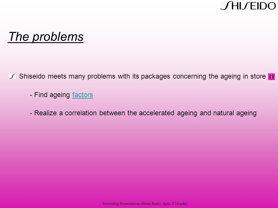 Shiseido meets many problems with its packages concerning the ageing in store - Find ageing factorsfactors - Realize a correlation between the acceler