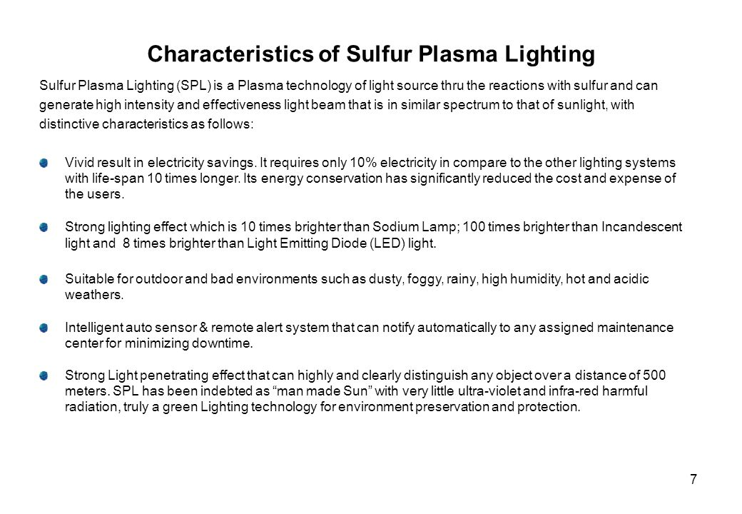 6 Sulfur Plasma Lighting