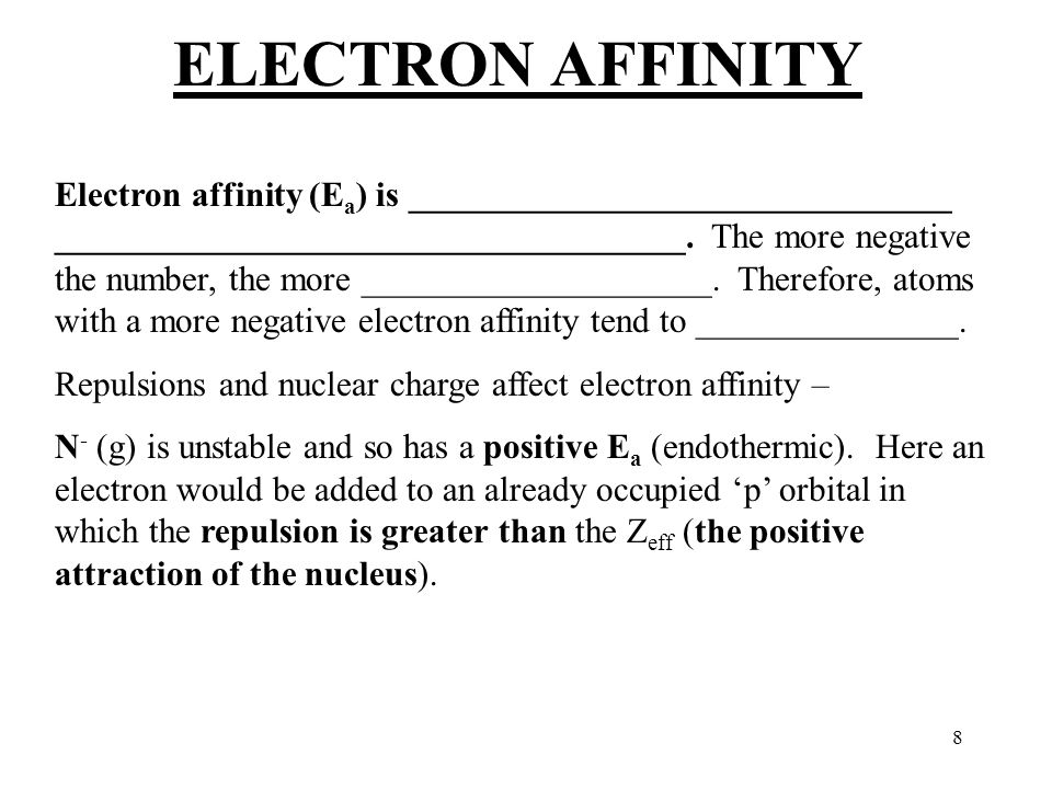 8 ELECTRON AFFINITY Electron affinity (E a ) is _______________________________ ____________________________________.