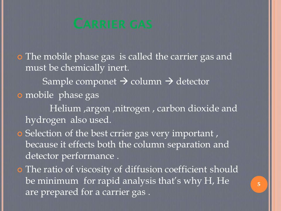 C ARRIER GAS 5 The mobile phase gas is called the carrier gas and must be chemically inert. Sample componet  column  detector mobile phase gas Heliu
