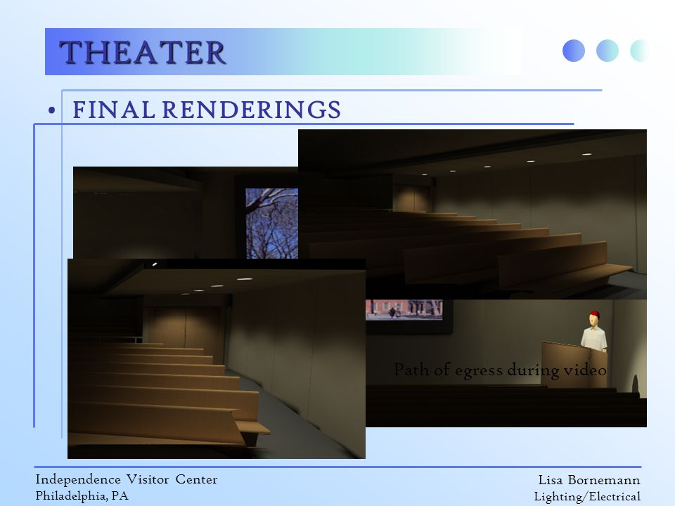 Lisa Bornemann Lighting/Electrical Independence Visitor Center Philadelphia, PA FINAL RENDERINGS THEATER Path of egress during video