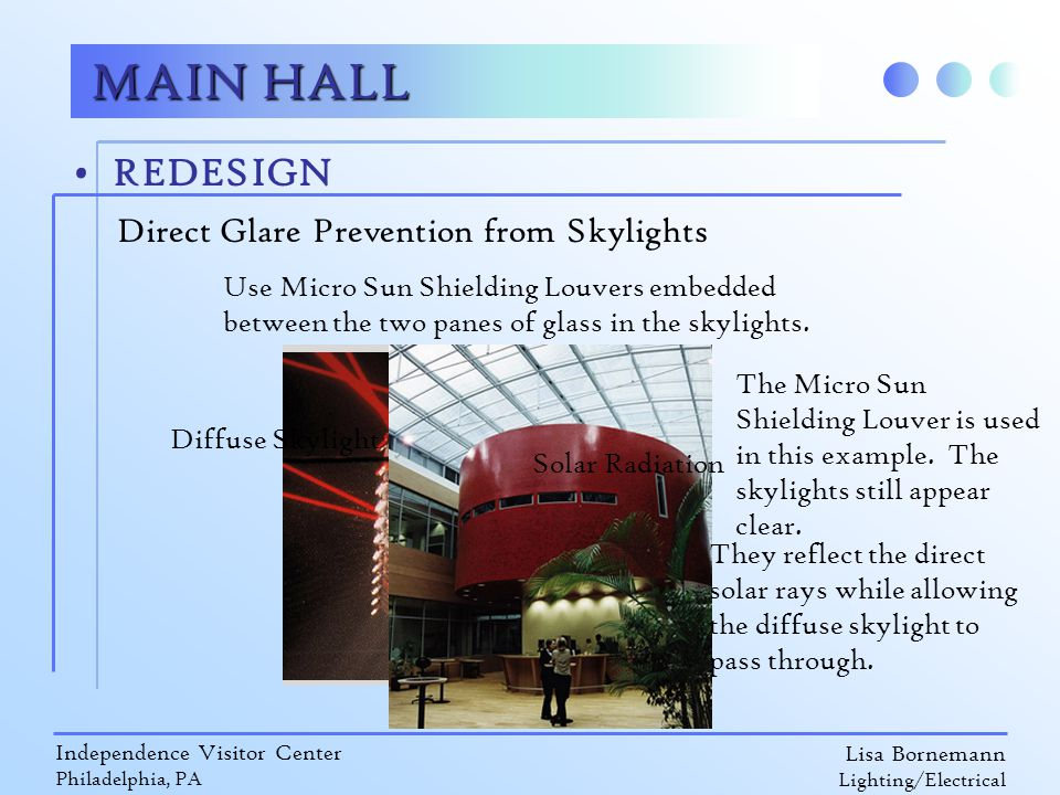Lisa Bornemann Lighting/Electrical Independence Visitor Center Philadelphia, PA REDESIGN MAIN HALL Direct Glare Prevention from Skylights Use Micro Sun Shielding Louvers embedded between the two panes of glass in the skylights.