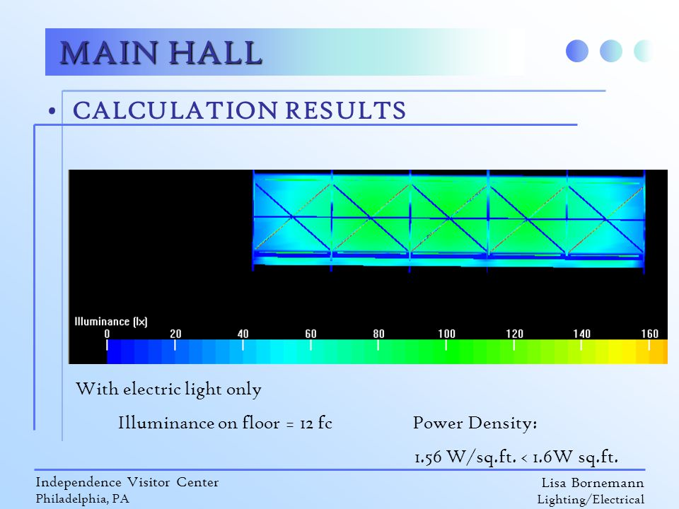 Lisa Bornemann Lighting/Electrical Independence Visitor Center Philadelphia, PA CALCULATION RESULTS MAIN HALL With electric light only Illuminance on floor = 12 fc Power Density: 1.56 W/sq.ft.