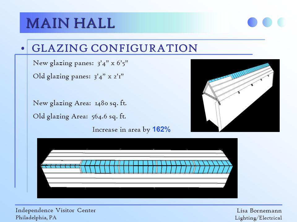 "Lisa Bornemann Lighting/Electrical Independence Visitor Center Philadelphia, PA MAIN HALL GLAZING CONFIGURATION New glazing panes: 3'4"" x 6'5"" Old gla"