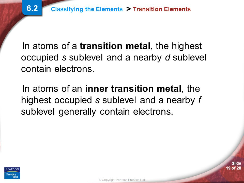 Slide 19 of 28 © Copyright Pearson Prentice Hall Classifying the Elements > Transition Elements In atoms of a transition metal, the highest occupied s