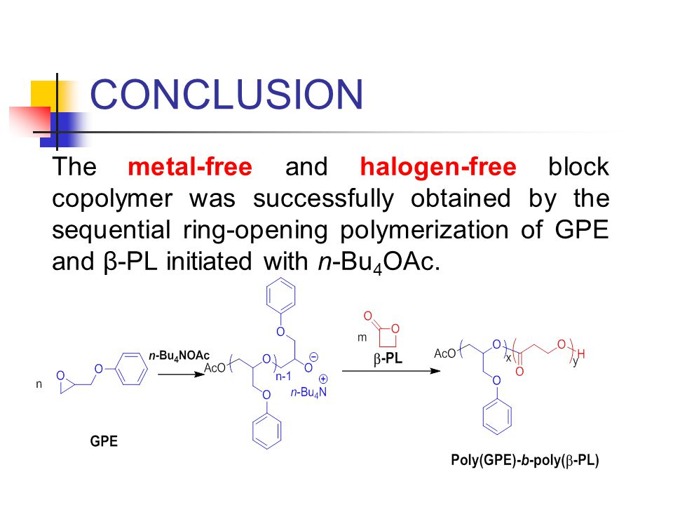 CONCLUSION The metal-free and halogen-free block copolymer was successfully obtained by the sequential ring-opening polymerization of GPE and β-PL initiated with n-Bu 4 OAc.