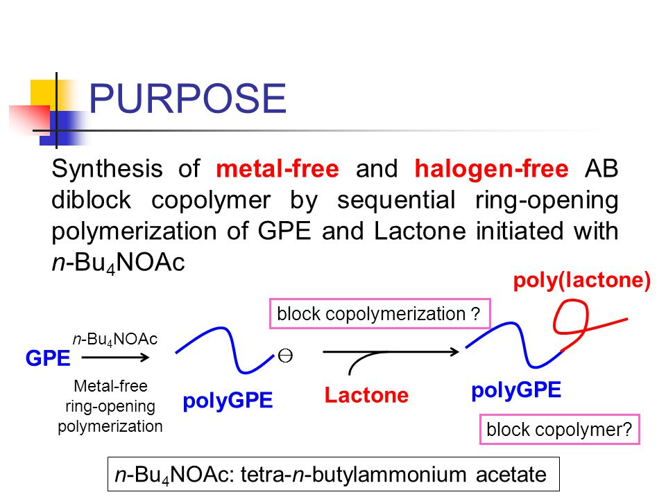 PURPOSE block copolymerization ? block copolymer? Synthesis of metal-free and halogen-free AB diblock copolymer by sequential ring-opening polymerizat