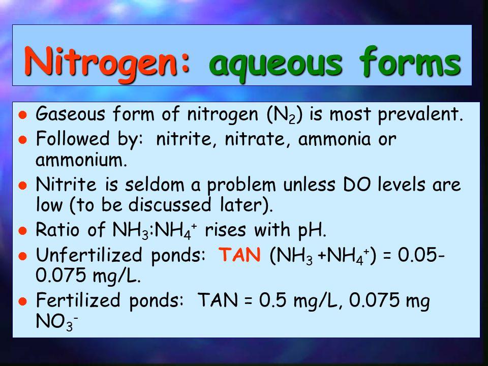 Nitrogen: aqueous forms Gaseous form of nitrogen (N 2 ) is most prevalent.