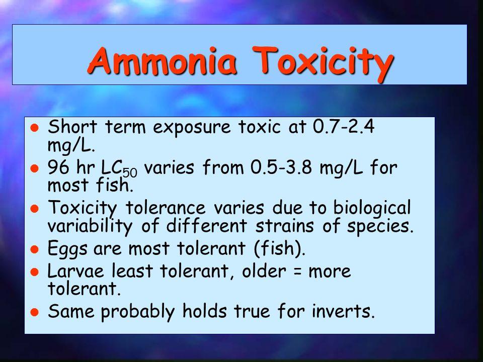 Ammonia Toxicity Short term exposure toxic at 0.7-2.4 mg/L.