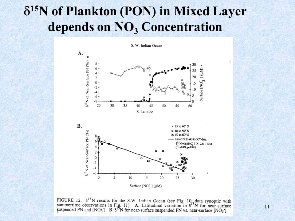 11  15 N of Plankton (PON) in Mixed Layer depends on NO 3 Concentration