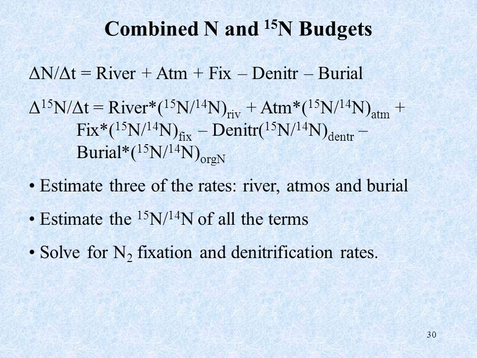 30 Combined N and 15 N Budgets ΔN/Δt = River + Atm + Fix – Denitr – Burial Δ 15 N/Δt = River*( 15 N/ 14 N) riv + Atm*( 15 N/ 14 N) atm + Fix*( 15 N/ 1