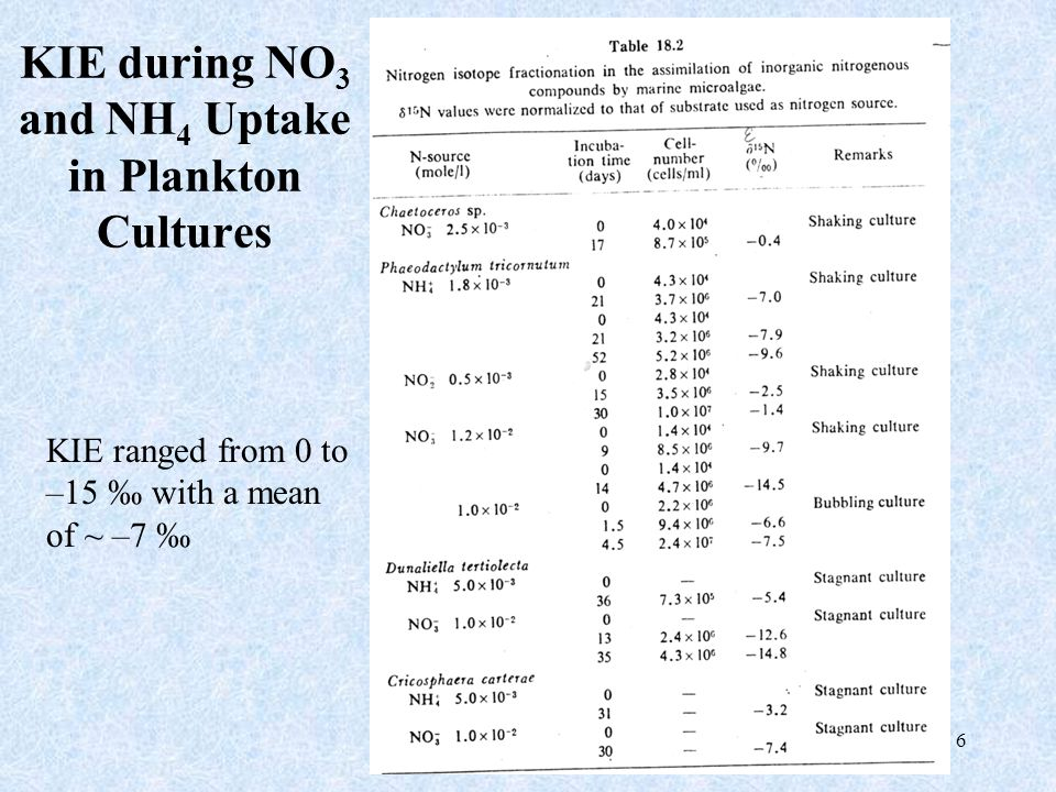 27 KIE during Nitrification in Cultures Previous lab cultures = -18 to –40 ‰ ( Mariotti 1981 ) Field Study (Chesapeake Bay) = -13 to –16 ‰ ( Horrigan et al., 1990)