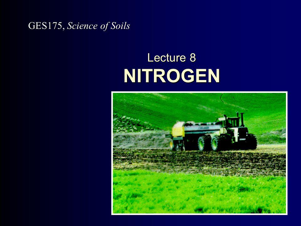 Lecture 8 NITROGEN GES175, Science of Soils