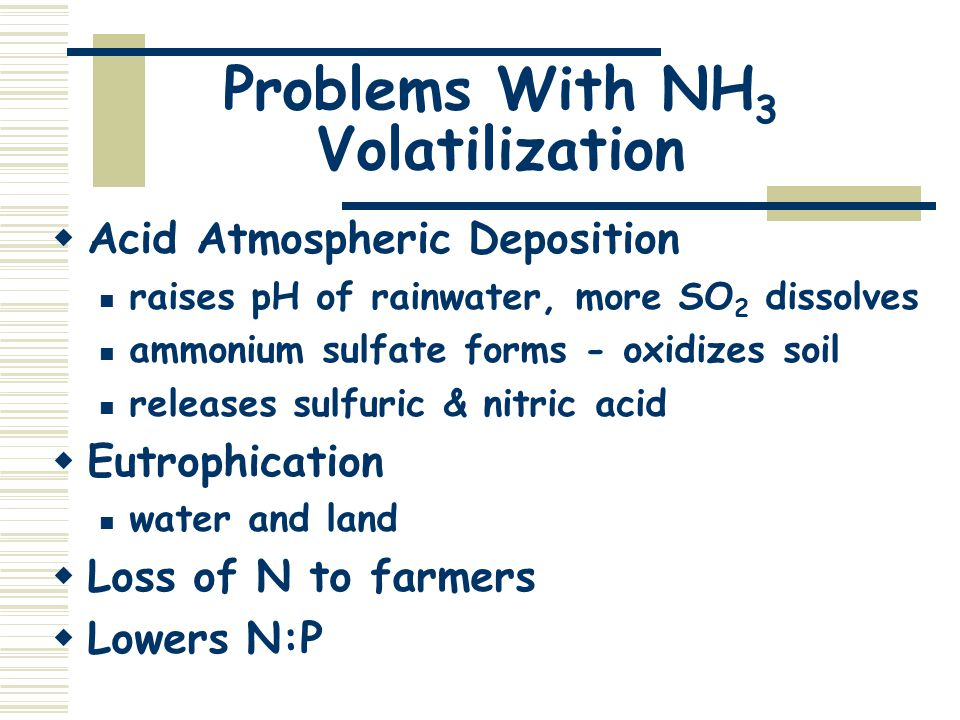 Problems With NH 3 Volatilization  Acid Atmospheric Deposition raises pH of rainwater, more SO 2 dissolves ammonium sulfate forms - oxidizes soil releases sulfuric & nitric acid  Eutrophication water and land  Loss of N to farmers  Lowers N:P