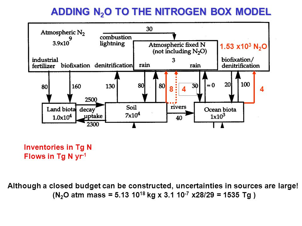 Inventories in Tg N Flows in Tg N yr -1 ADDING N 2 O TO THE NITROGEN BOX MODEL 48 4 1.53 x10 3 N 2 O Although a closed budget can be constructed, unce