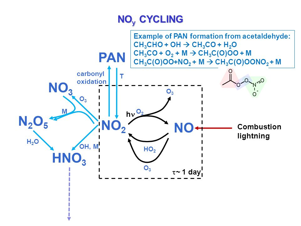 NO y CYCLING HO 2 NO NO 2 h O3O3 O3O3 O2O2 Combustion lightning HNO 3 OH, M O3O3 NO 3 N2O5N2O5 M H2OH2O PAN carbonyl oxidation T  ~ 1 day Example of