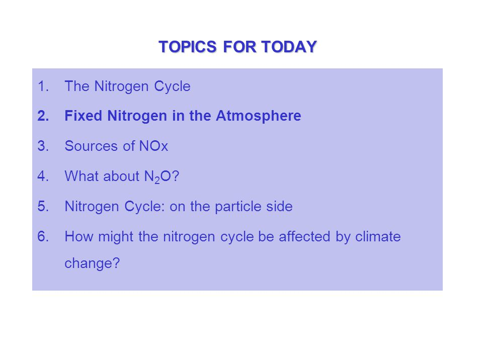 TOPICS FOR TODAY 1.The Nitrogen Cycle 2.Fixed Nitrogen in the Atmosphere 3.Sources of NOx 4.What about N 2 O? 5.Nitrogen Cycle: on the particle side 6