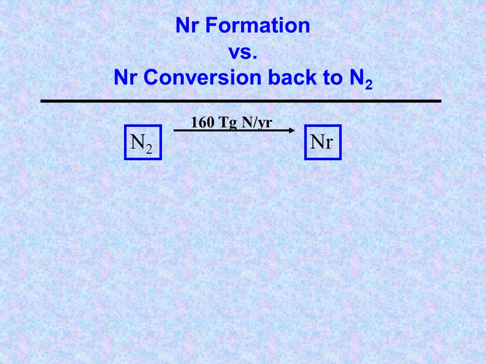 Nr Formation vs. Nr Conversion back to N 2 N2N2 Nr 160 Tg N/yr
