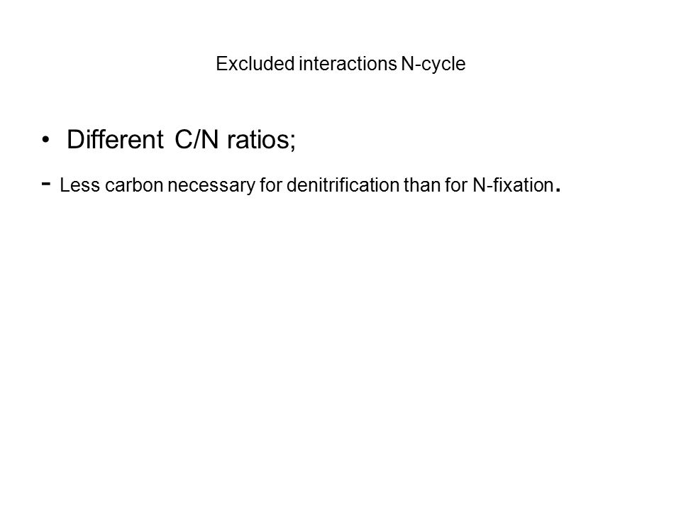 Excluded interactions N-cycle Different C/N ratios; - Less carbon necessary for denitrification than for N-fixation.