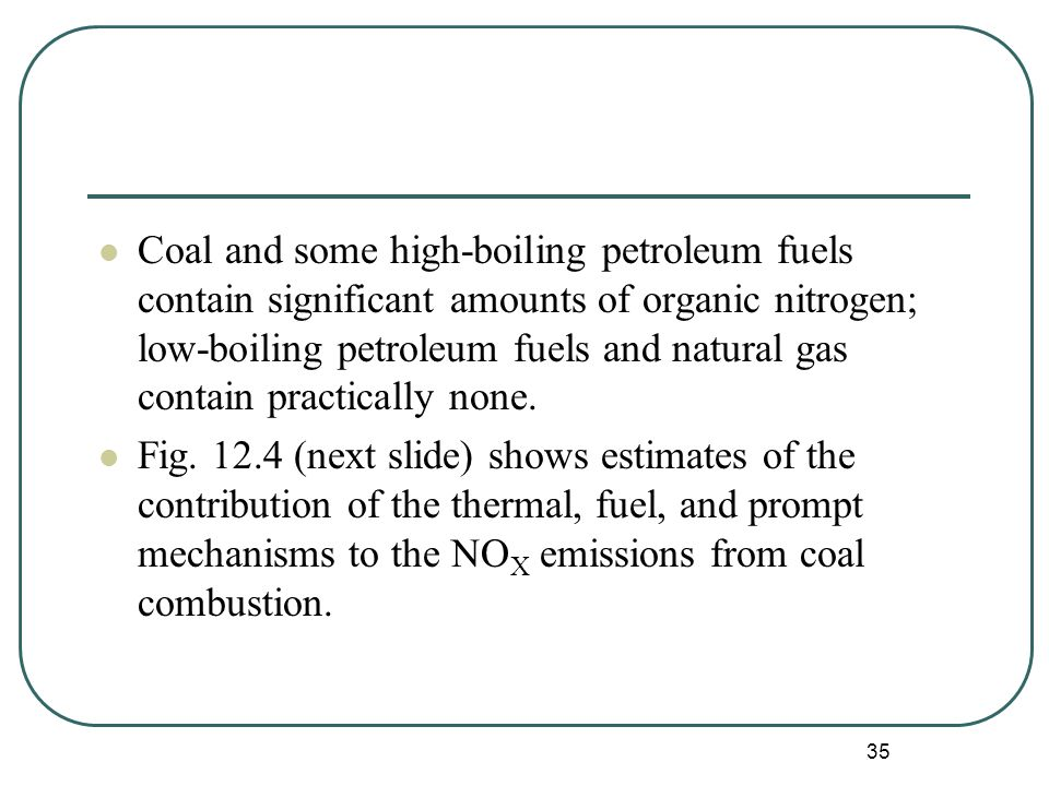 35 Coal and some high-boiling petroleum fuels contain significant amounts of organic nitrogen; low-boiling petroleum fuels and natural gas contain practically none.