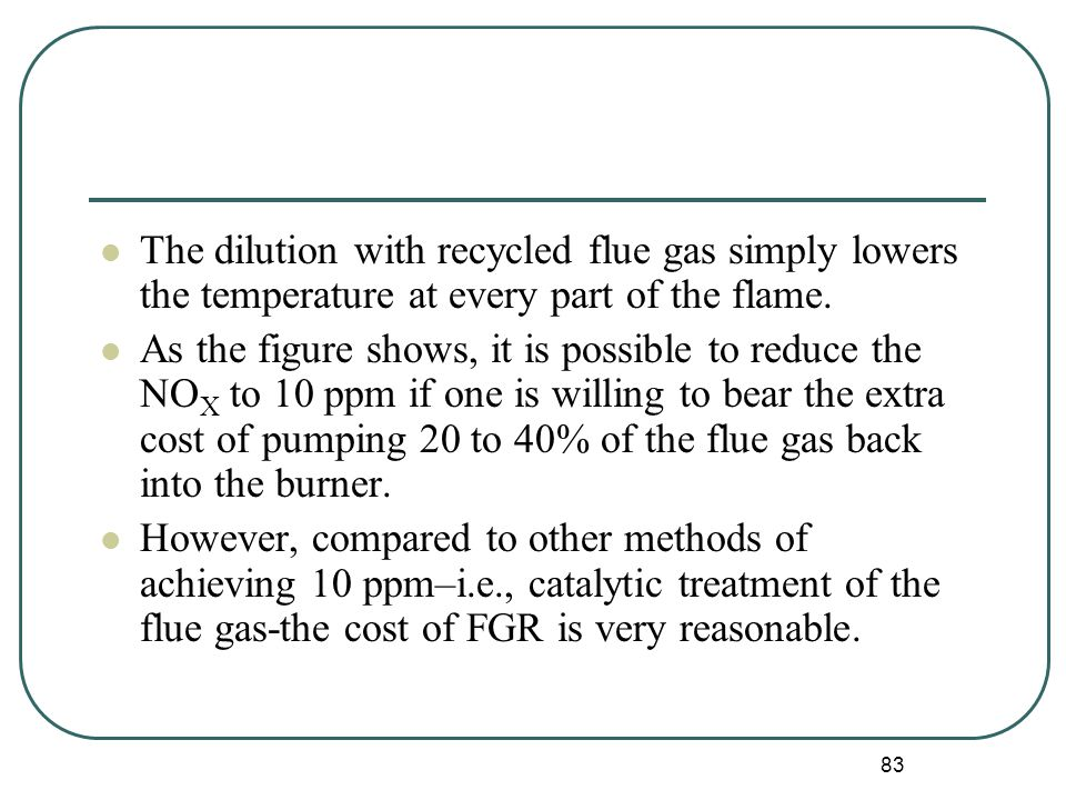 83 The dilution with recycled flue gas simply lowers the temperature at every part of the flame.