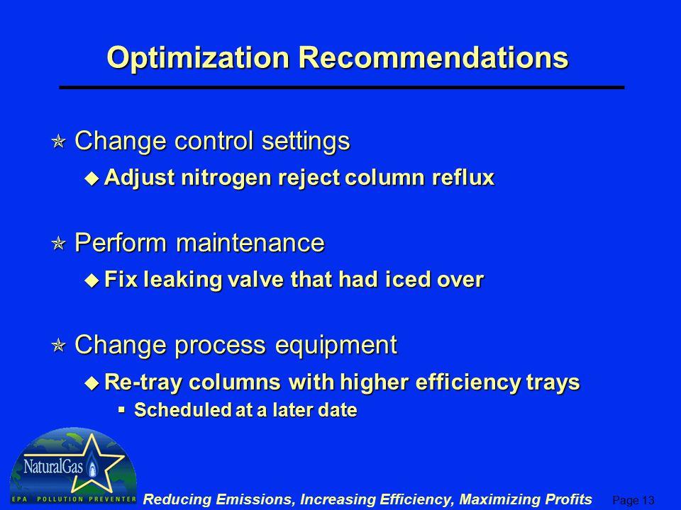 Page 13 Reducing Emissions, Increasing Efficiency, Maximizing Profits Optimization Recommendations  Change control settings u Adjust nitrogen reject