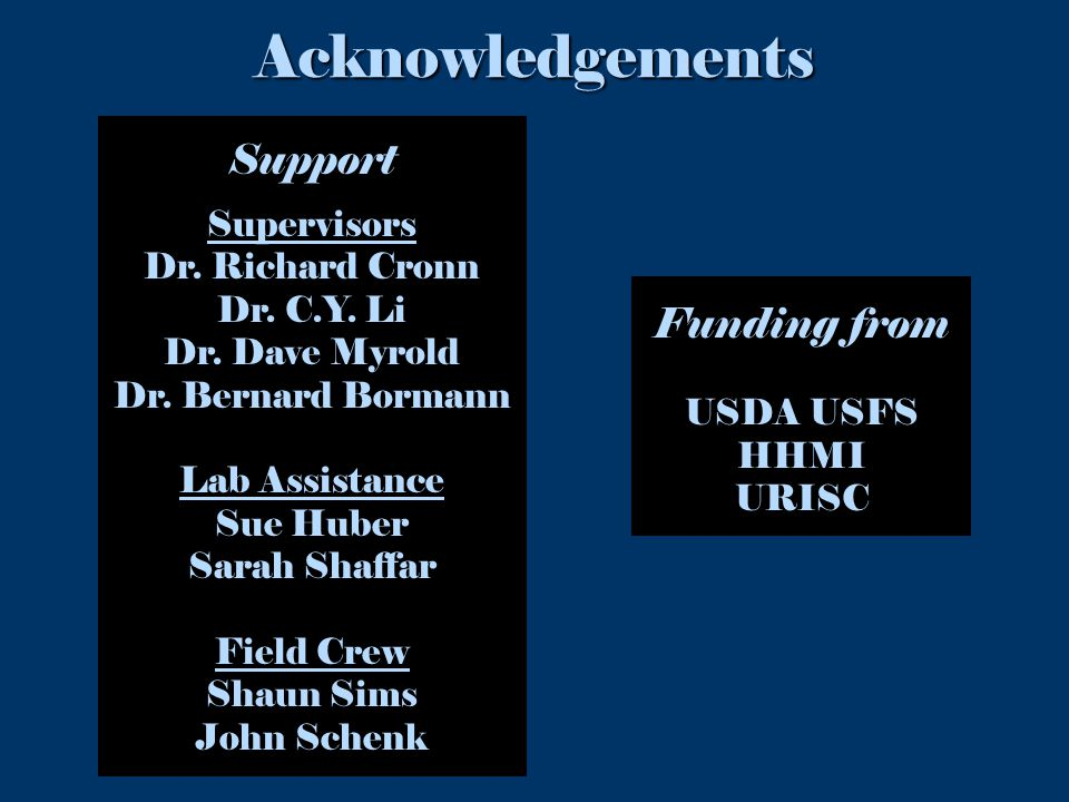 Acknowledgements SupportSupervisors Dr. Richard Cronn Dr.