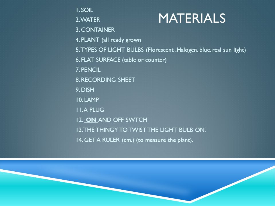 MATERIALS 1. SOIL 2. WATER 3. CONTAINER 4. PLANT (all ready grown 5.