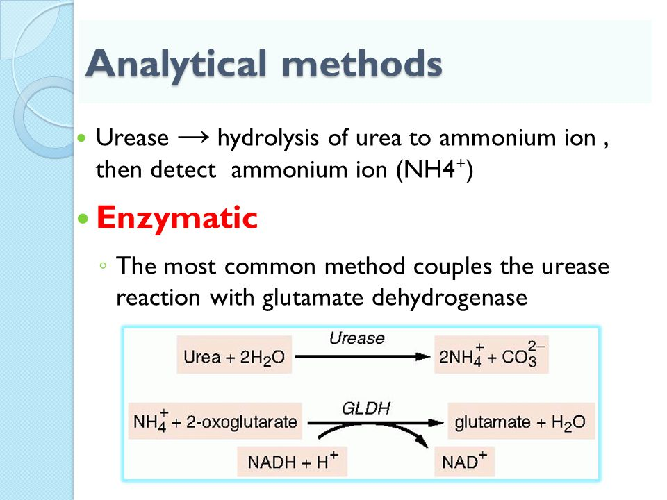 Analytical methods Urease → hydrolysis of urea to ammonium ion, then detect ammonium ion (NH4 + ) Enzymatic ◦ The most common method couples the ureas
