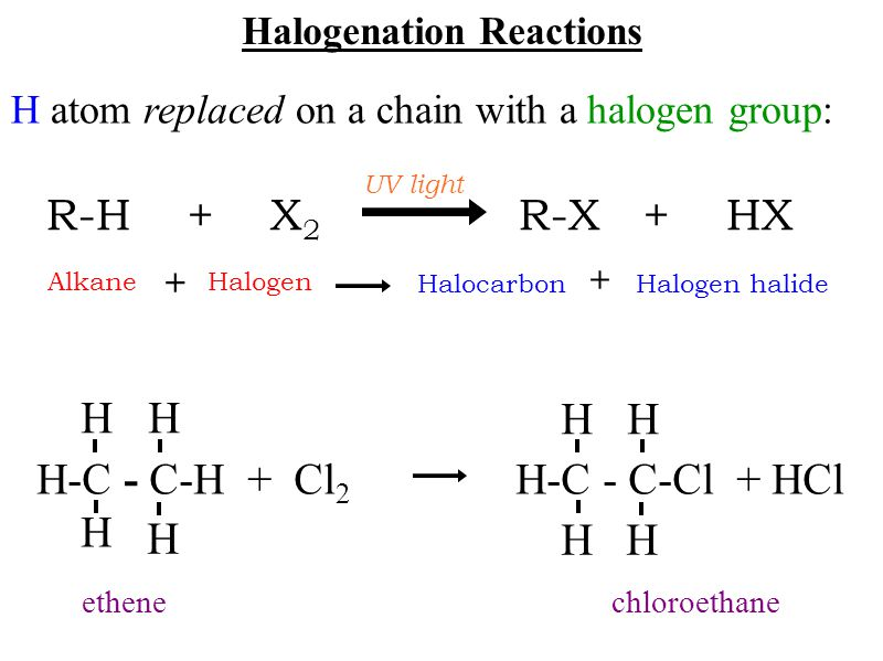 Halogenation Reactions H atom replaced on a chain with a halogen group: R-H + X 2 R-X + HX UV light H-C - C-H + Cl 2 H-C - C-Cl + HCl H HH H HH HH eth
