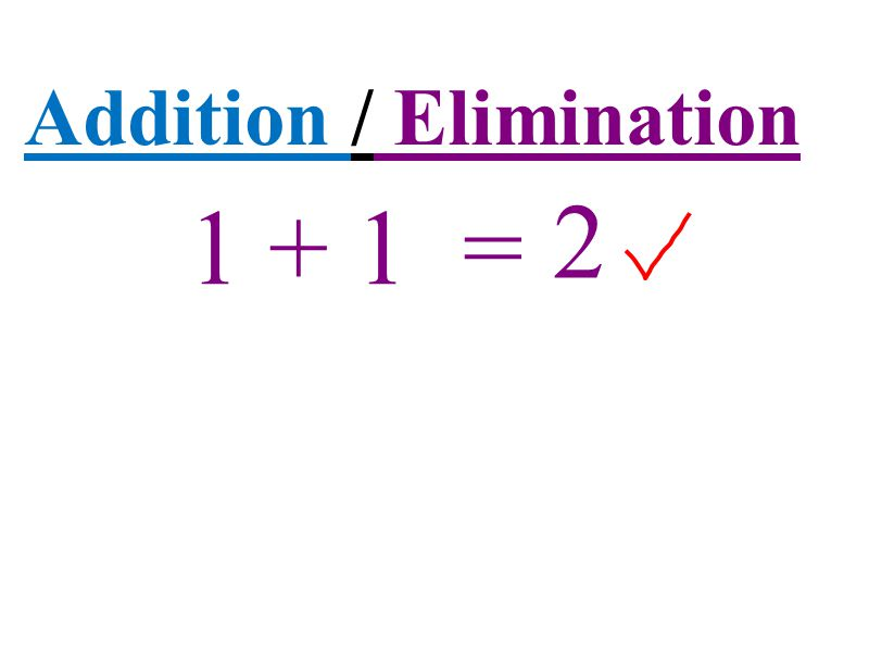 Addition / Elimination 1 + 1 = 2