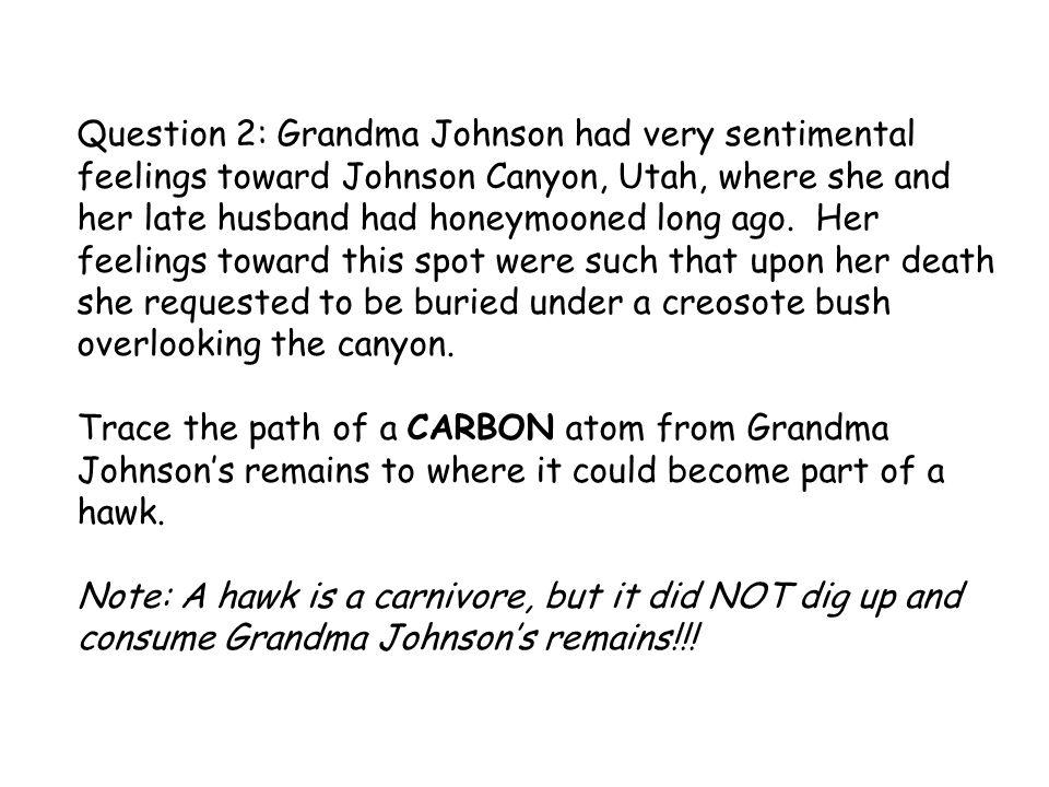 Question 2: Grandma Johnson had very sentimental feelings toward Johnson Canyon, Utah, where she and her late husband had honeymooned long ago. Her fe