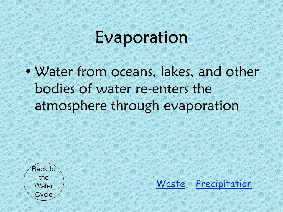 Evaporation Water from oceans, lakes, and other bodies of water re-enters the atmosphere through evaporation Back to the Water Cycle PrecipitationWaste