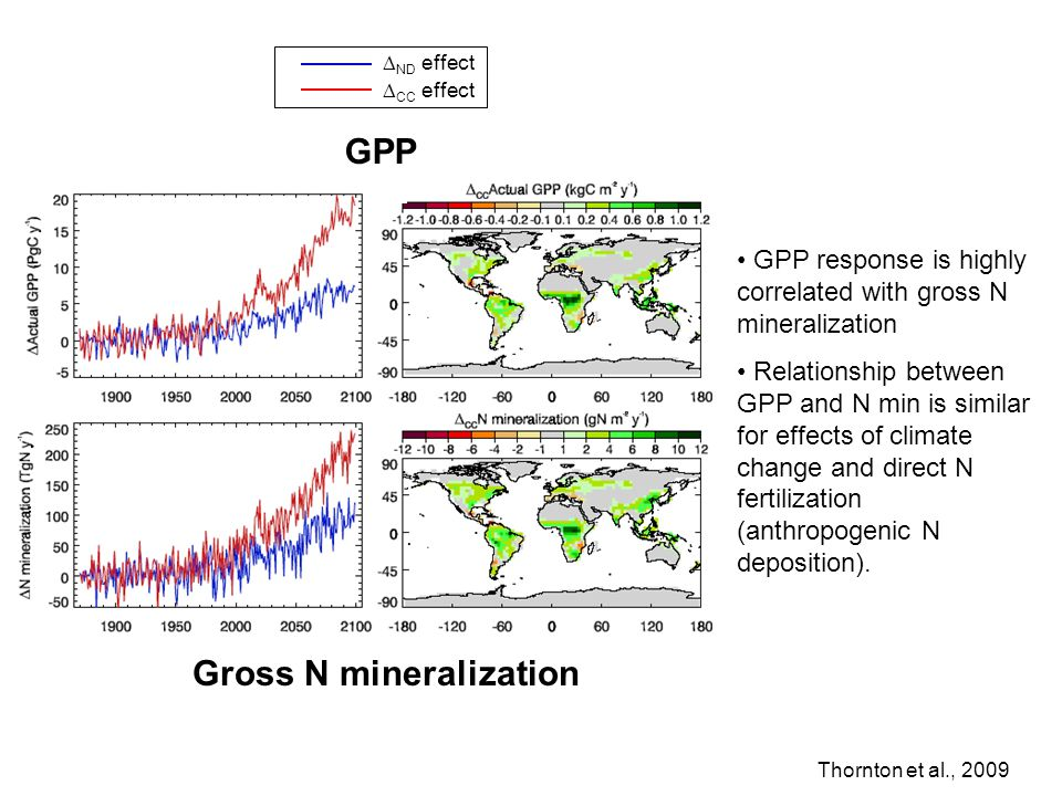 GPP response is highly correlated with gross N mineralization Relationship between GPP and N min is similar for effects of climate change and direct N fertilization (anthropogenic N deposition).