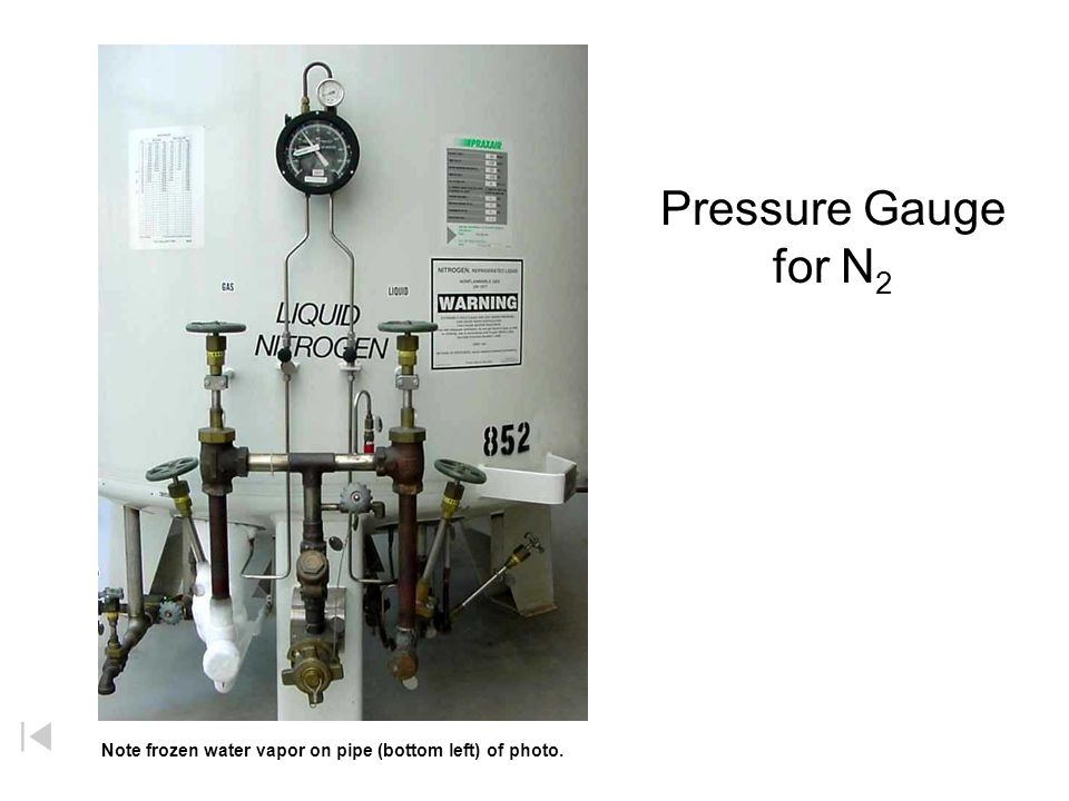 Pressure Gauge for N 2 Note frozen water vapor on pipe (bottom left) of photo.