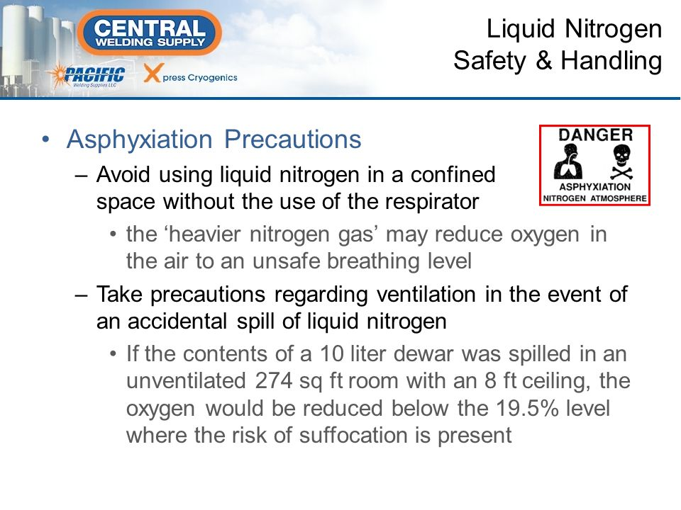 Asphyxiation Precautions –Avoid using liquid nitrogen in a confined space without the use of the respirator the 'heavier nitrogen gas' may reduce oxygen in the air to an unsafe breathing level –Take precautions regarding ventilation in the event of an accidental spill of liquid nitrogen If the contents of a 10 liter dewar was spilled in an unventilated 274 sq ft room with an 8 ft ceiling, the oxygen would be reduced below the 19.5% level where the risk of suffocation is present Liquid Nitrogen Safety & Handling