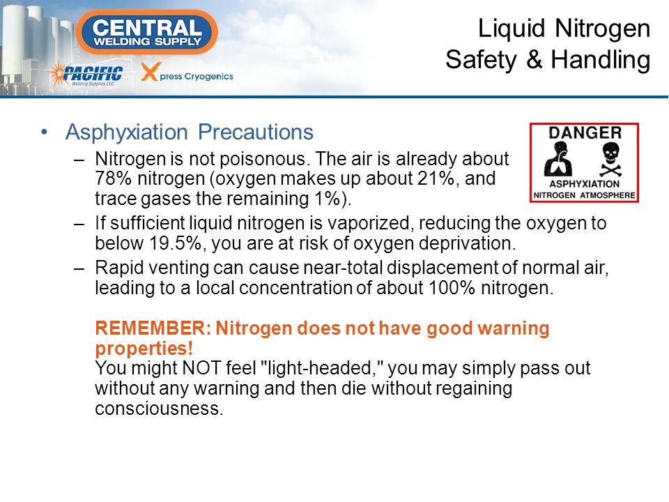 Asphyxiation Precautions –Nitrogen is not poisonous.